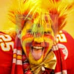 Kansas City Chiefs fan has his game face ready for tonights game.