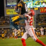Pittsburgh Steelers wide receiver Antonio Brown (84) leaps in front of Kansas City Chiefs cornerback Steven Nelson (20) to score his second touchdown of the night.