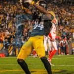 Pittsburgh Steelers wide receiver Antonio Brown (84) celebrating his touchdown during the game.