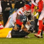 Kansas City Chiefs defensive end Jaye Howard (96) and Kansas City Chiefs outside linebacker Dee Ford (55) sack Pittsburgh Steelers quarterback Ben Roethlisberger (7) during the game.