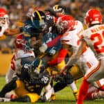 Pittsburgh Steelers running back DeAngelo Williams (34) gets gobbled up by the Kansas City Chiefs defense during the game.