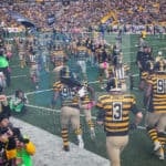Pittsburgh Steelers taking the field before the start of the game.