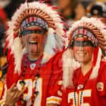 A couple of Kansas City Chiefs fans were all dressed up tonights game.