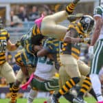 Pittsburgh Steelers strong safety Jordan Dangerfield (37) goes head over heels while making a tackle on New York Jets wide receiver Quincy Enunwa (81) during the first half.