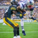 New England Patriots cornerback Malcolm Butler (21) picks off a pass intended for Pittsburgh Steelers wide receiver Antonio Brown (84) during the first half.