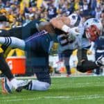 New England Patriots tight end Rob Gronkowski (87) completes a catch during the game.