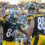 Pittsburgh Steelers wide receiver Antonio Brown (84) celebrating Pittsburgh Steelers wide receiver Darrius Heyward-Bey (88) after Heyward-Bey scored a touchdown during the first half.