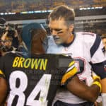 New England Patriots quarterback Tom Brady (12) greets Pittsburgh Steelers wide receiver Antonio Brown (84) at mid field after the game.