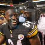 New England Patriots running back LeGarrette Blount (29) and Pittsburgh Steelers wide receiver Antonio Brown (84) after the game.