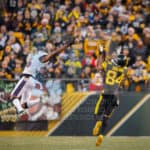 Baltimore Ravens cornerback Tavon Young (36) leaps in the air in an attempt to knock down a deep ball thrown to Pittsburgh Steelers wide receiver Antonio Brown (84).