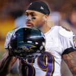 Baltimore Ravens wide receiver Steve Smith (89) walking back toward the tunnels after the game.